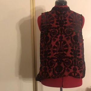 Adorable, never been warm. Black & red velvet top